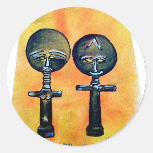 Icono africano: Akuaba (Ghana) Pegatina Redonda