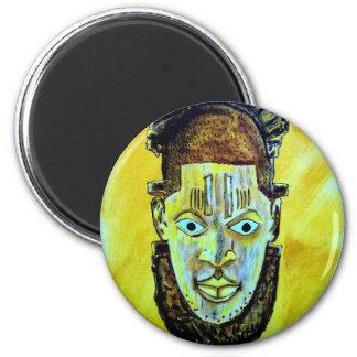 Icono africano: Máscara de la reina de Benin Imán Redondo 5 Cm