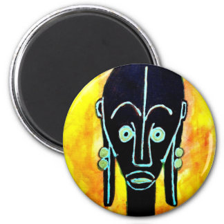 Icono africano: Máscara del colmillo (Gabón) Imán Redondo 5 Cm