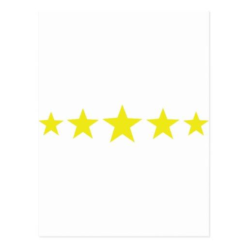 icono amarillo de cinco estrellas postal