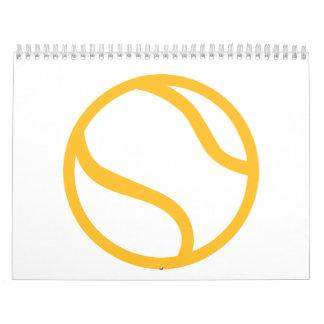 Icono amarillo de la pelota de tenis calendarios de pared