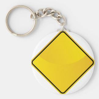 Icono amarillo de la señal de tráfico llavero redondo tipo pin