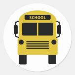 icono amarillo del autobús escolar etiqueta redonda
