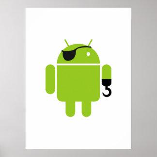 Icono androide del robot como pirata póster