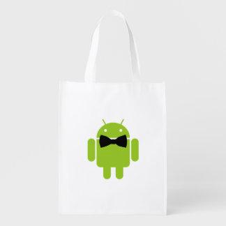 Icono androide formal del robot de la pajarita bolsas para la compra