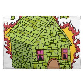 Icono ardiente de la casa del dinero manteles individuales