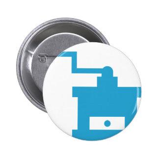 Icono azul de la amoladora de café chapa redonda 5 cm