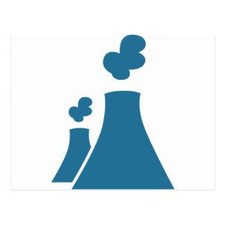 Icono azul de la central nuclear tarjetas postales