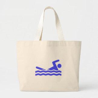 Icono azul de la natación bolsa tela grande
