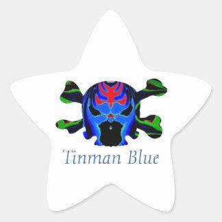 Icono AZUL de TINMAN: Dibujo animado divertido Pegatina En Forma De Estrella