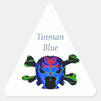 Icono AZUL de TINMAN: Dibujo animado divertido Pegatina Triangular