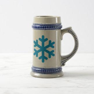 Icono azul del copo de nieve taza