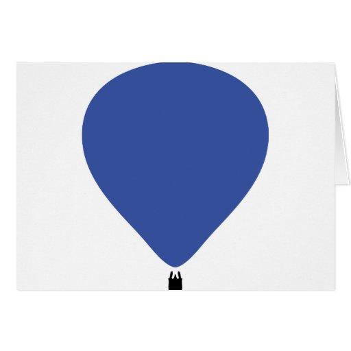 icono azul del globo de aire caliente tarjeta de felicitación