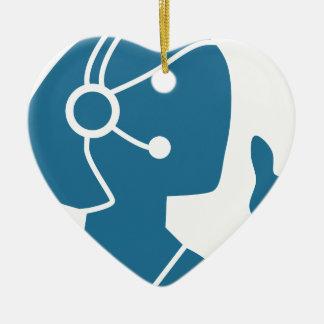Icono azul del representante de ventas del adorno navideño de cerámica en forma de corazón