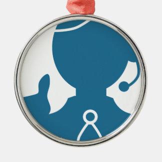 Icono azul del representante de ventas del adorno navideño redondo de metal