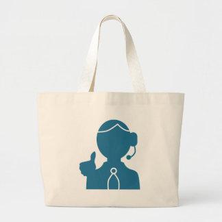 Icono azul del representante de ventas del bolsa tela grande