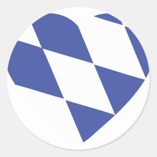 icono bávaro azul del corazón pegatina redonda
