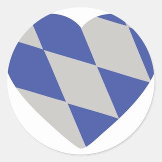 icono bávaro del corazón etiqueta redonda