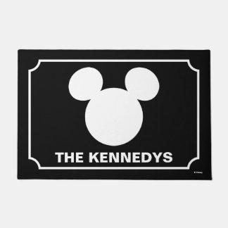 Icono blanco del logotipo el   Mickey de Disney Felpudo