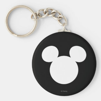 Icono blanco del logotipo el | Mickey de Disney Llavero Redondo Tipo Pin