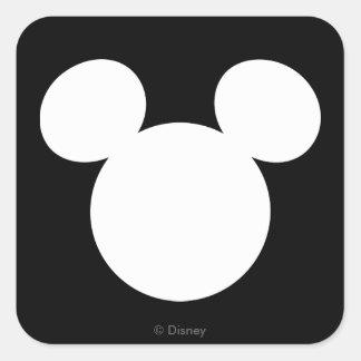 Icono blanco del logotipo el   Mickey de Disney Pegatina Cuadrada