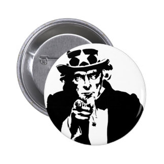 Icono blanco y negro del tío Sam Pin Redondo De 2 Pulgadas
