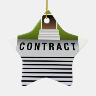 Icono casero del contrato de las propiedades adorno de cerámica en forma de estrella