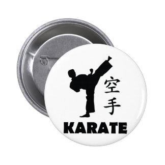icono chino de los símbolos del hombre del karate pin redondo de 2 pulgadas
