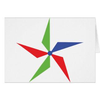 icono coloreado de la rueda de viento tarjeta de felicitación