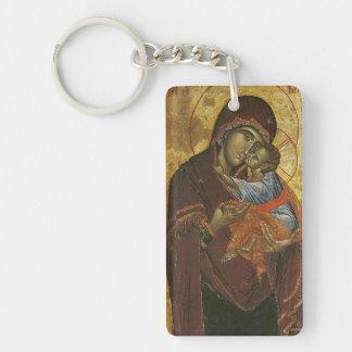 "Icono conocido como la ""Virgen del Tsar Dushan"", Llavero Rectangular Acrílico A Doble Cara"