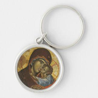 """Icono conocido como la """"Virgen del Tsar Dushan"""", Llavero Redondo Plateado"""