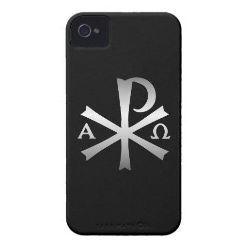 Icono cristiano alfa y lábaro de Omega Case-Mate iPhone 4 Coberturas