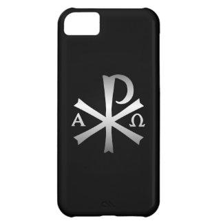 Icono cristiano alfa y lábaro de Omega Funda Para iPhone 5C
