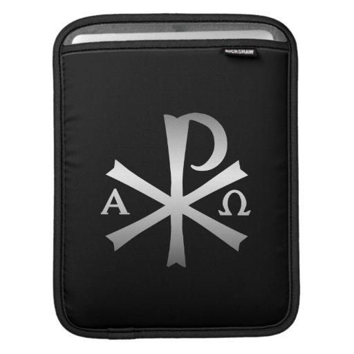 Icono cristiano alfa y lábaro de Omega Mangas De iPad