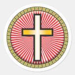 Icono cruzado cristiano pegatinas redondas
