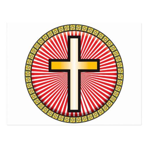 Icono cruzado cristiano tarjeta postal