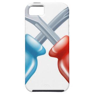Icono cruzado destornilladores de las herramientas iPhone 5 funda