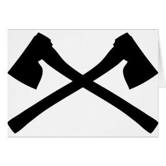 icono cruzado hacha del hacha tarjeta de felicitación