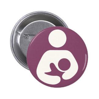 Icono de amamantamiento - color de malva pin redondo de 2 pulgadas