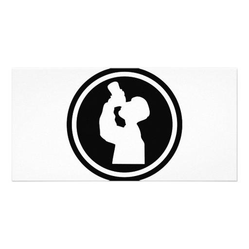 icono de consumición del alcohol tarjeta personal con foto