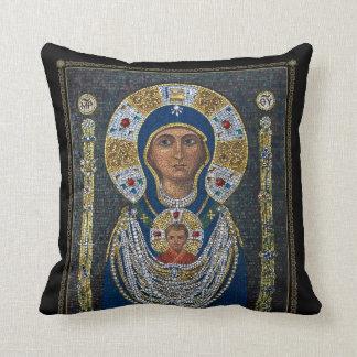 Icono de cristal del mosaico de Murano de la madre Almohadas