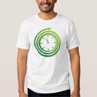 Icono de giro del reloj de la flecha espiral verde playera
