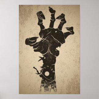 Icono de Halloween del vintage - mano del zombi Póster