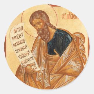 Icono de Jeremiah del santo Pegatina Redonda