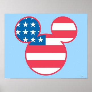 Icono de la bandera de la cabeza del ratón de póster