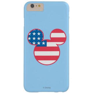 Icono de la bandera de Mickey Mouse los E.E.U.U. Funda Para iPhone 6 Plus Barely There