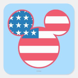 Icono de la bandera de Mickey Mouse los E.E.U.U. Pegatina Cuadrada