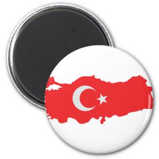 Icono de la bandera del contorno de Turquía Imán Redondo 5 Cm