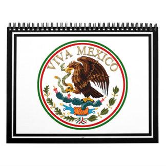 Icono de la bandera mexicana de Viva México con el Calendario