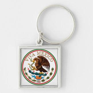 Icono de la bandera mexicana de Viva México con el Llavero Cuadrado Plateado